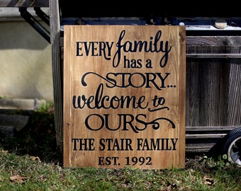 Every family has a story Welcome to ours | large rustic sign | distressed sign | 20x24 wood sign