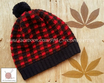 Crochet Hat, Red and Black Hat, Hat Winter Accessories