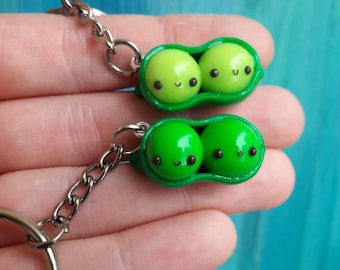 2 peas in a pod keychain light and dark