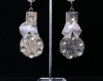 Raindrops on Glass, with Removable Wispy Bow. Lightweight, handmade fused glass earrings with Silver hooks