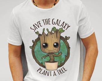 Save the Galaxy, Plant a Tree - Guardians of the Galaxy - Baby Groot - T-Shirt - Free UK Delivery