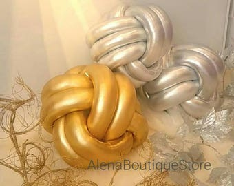 Golg Silver Knot Pillow,Nursery Decor knot cushion,Decorative Pillow,Accent Pillow,Braided Pillow,home decor, Rooom Decor..