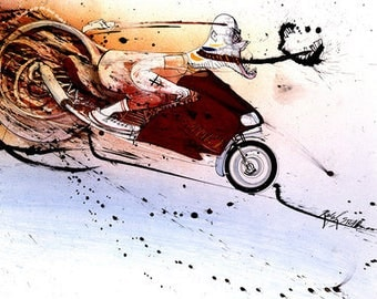 Ralph Steadman Signed Hunter S. Thompson on Ducati Art Print