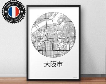 Poster Osaka Japan Minimalist Map - City Map, Street Map