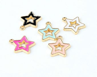 10pcs/lot Cute Gold color 14*15mm Enamel Star Charms ,Metal Colorful mini Star Pendant For DIY Jewelry Making Supplies