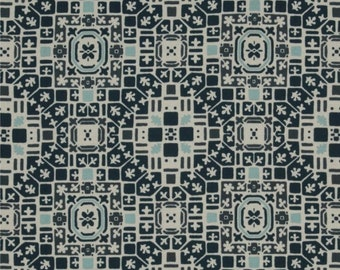 Blue patchwork fabric Curious Nature Parson Gray french Quarter PWPG 004
