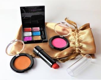 Pretend Makeup for Kids - Glitter & Gold Mini Set - Play Makeup - FAKE cosmetics - Looks/Feels Real - No Mess - Lipstick - Preschool Gift