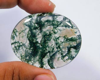 Very Rare ! Natural Moss Agate Cabochon Loose Gemstone 35x44 MM Approx Oval Shape 68.00 Cts For Marking Jewelry .