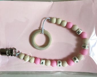 Personalized baby teething clip/ customized baby name