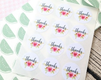 Pink rose thanks stickers, Flower stickers, Thanks stickers, Rose thank you sticker, Pretty thank you sticker, Wedding thank you sticker