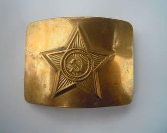 Military brass buckle. Metal vintage soviet ussr.