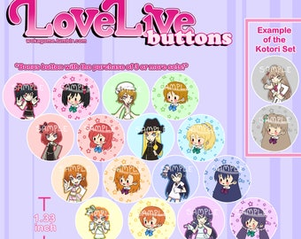 Love Live School Idol Festival chibi anime pins/buttons/badges