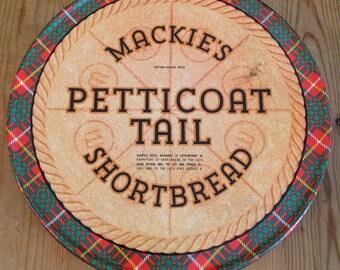 Vintage Mackie's Scottish Shortbread Tin / Petticoat Tail Shortbread  Tin / Biscuit Tin / Vintage Tin / Tartan Tin / 1950's Tin