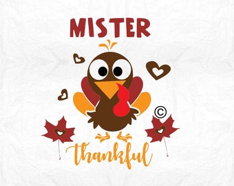 mister thankful turkey SVG Clipart Cut Files Silhouette Cameo Svg for Cricut and Vinyl File cutting Digital cuts file DXF Png Pdf Eps