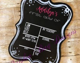 First Day Of School Chalkboard, Back To School Chalkboard, Personalized Chalkboard