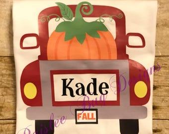 Pumpkin Truck Shirt, Halloween Shirt, Boy's Halloween Shirt, Personalized Halloween Shirt, Trick or Treat Shirt, Pumpkin Patch Shirt