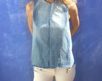 Alice top. Upcycled denim top with open back