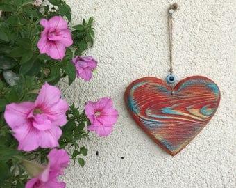 Wooden Heart Sign, Handmade Heart Sign, Evil Eye Wall Hanging, Vintage inspired wooden heart, evil eye sign, wholesale Evil Eye wall hanging