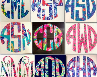 Lilly Pulitzer Inspired Decal, Lilly Pulitzer Monogram Decal, Lilly Pulitzer Decal for Yeti Cup, Lilly Pulitzer Car Decal, Laptop Decal,