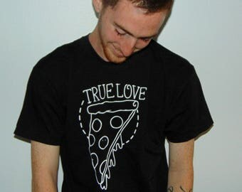 Pizza shirt, true love shirt, pizza lover gift, pizza lover, tattoo shirt, classic tattoo, old school shirt, hipster gift, gift tattoo lover