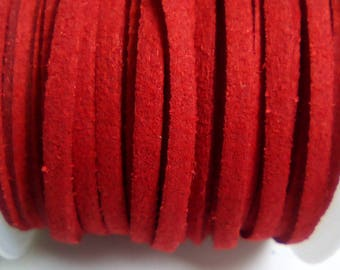 1 m red 3mm suede cord