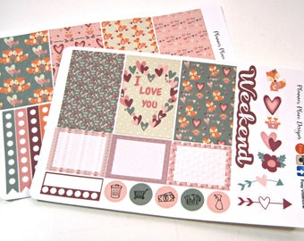 Planner Stickers - Weekly Planner Stickers - Happy Planner - Erin Condren - Valentine's Day Stickers - Fox Stickers - Hearts - Love