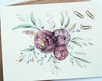 Water color Peony Bouquet