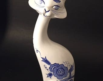 Vintage Ceramic White And Blue Siamese Cat. Floral Hand Painted Siames Cat. Tall Decorative Cat. E S D Made in Japan