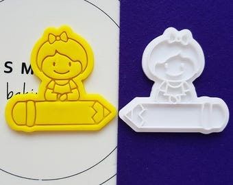 Girl on Pencil Cookie Cutter and Stamp