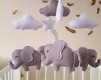 Elephant mobile, elephant baby mobile, baby girl mobile,baby shower gift, baby crib mobile
