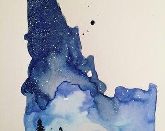 Idaho galaxy watercolor blue northwest original painting modern art