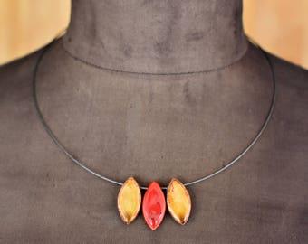 "Ceramic-Necklace ""autumn foliage"""