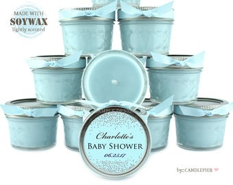 12 ct Silver and blue baby shower favors, 4 oz personalized soy candles, new baby, gender reveal party favors, confetti design