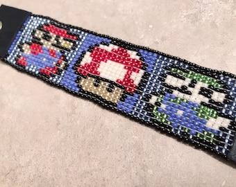 Beaded Bracelet, Seed Bead Bracelet, Super Mario Jeweley, Handmade Jewelery