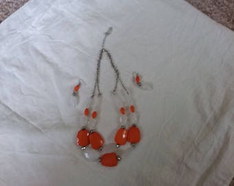Vintage burnt orange and white ice cube looking beaded necklace and pierced earrings.  Double strand