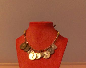 Roman coin and leather necklace