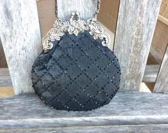 Vintage Jessica McClintock Black Handbag Beaded Shoulder Bag Small Purse