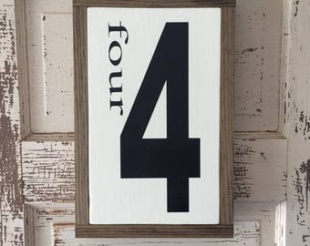 Number Sign, Wood, Farmhouse Style,  Wood sign,  Family Gallery Wall , Wooden Sign,  Home Decor. Family number, 4 sign number sign