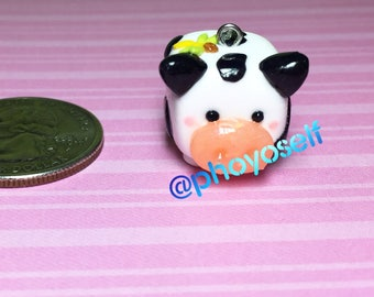 Polymer Clay Cow and Dragon Fly charm