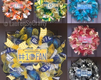 Made to Order Wreaths: Bay Area Sports Teams! Warriors, SF Giants, A's, Raiders, SF 49ers, SJ Sharks, Football, Baseball, Hockey, Basketball
