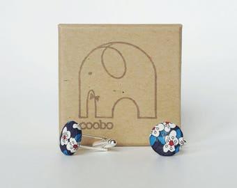 Mens cufflinks, Liberty Cufflinks, blue floral cufflinks, fabric cufflinks, wedding cufflinks, gift for him, button cufflinks