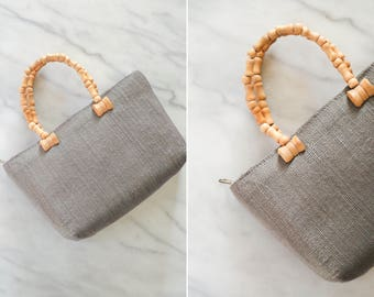 Vintage Gray Handbag with Indigo Stitching // Wood Beaded Handle