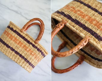 Small Vintage Straw and Leather Market Bag // Bohemian Straw Basket with Leather Handles