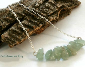 Jade Gemstone Bar Necklace, Sterling silver, Light Green Necklace , Raw Stone Jewelry ,August Birthstone