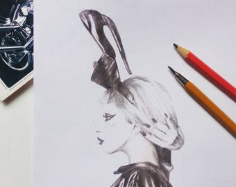 Print of Lady Gaga drawing