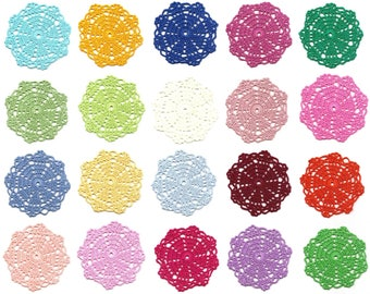 Set Of 20 Crochet Doilies Crocheted Medallions Assortment Mini Doily Boho Crafts Flower Dream Catcher Decorative Tea Time Coaster Home Decor