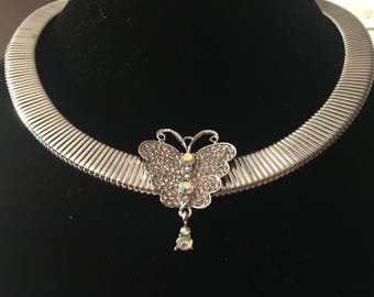 Austrian Crystal Butterfly Necklace/Crystal Butterfly Necklace/Butterfly Jewelry