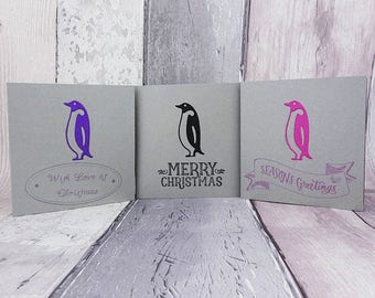 Penguin Christmas cards, Colour choice, Custom message, Handmade Happy Christmas card multi-pack, Metallic silver card, Blue, Pink, Green