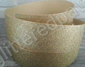 """1.5"""" Gold Glitter Grosgrain Ribbon"""