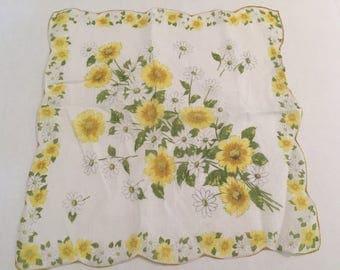 Vintage Handkerchief / Yellow Daisies